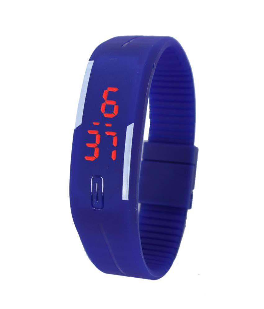 Felizer Blue Trendy Digital Led Sports Band Watch
