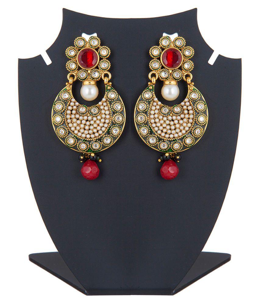 Inaya Multicolour Gold Plated Polki Stud Earrings