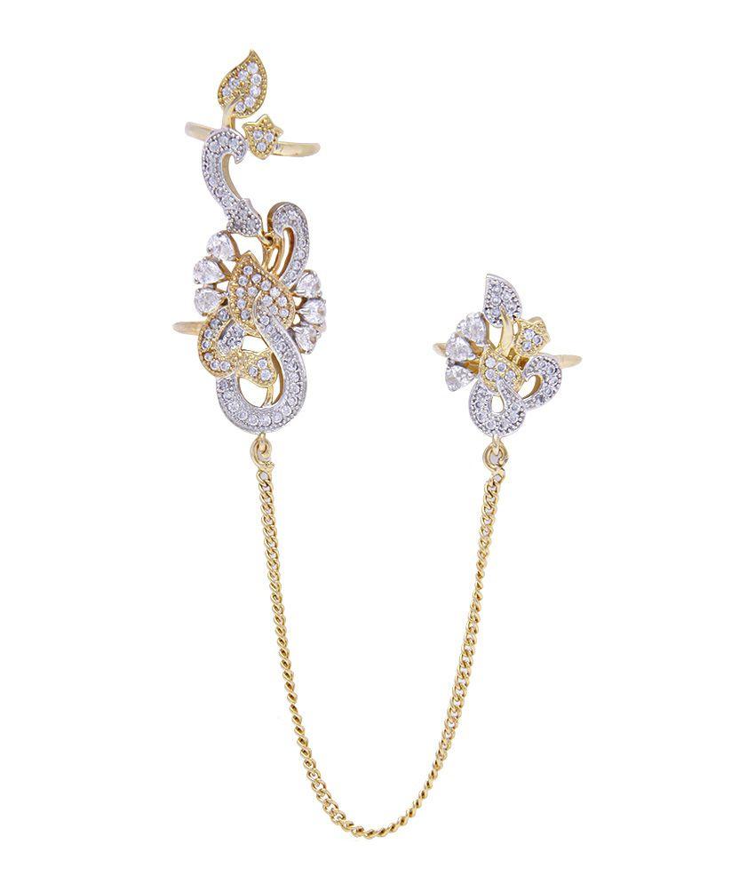 Jewels Galaxy Stylish American Diamond Multi Finger Free Size ...