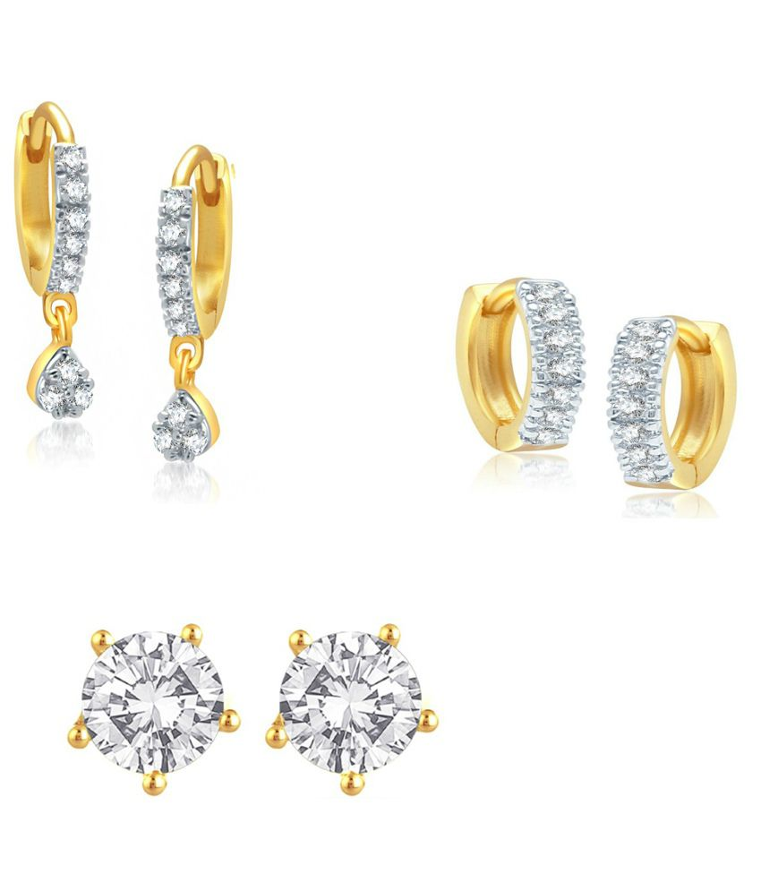 Jewels Galaxy Precious Collection Of Fancy Ad Bali With Solitaire Studs - Combo Of 3