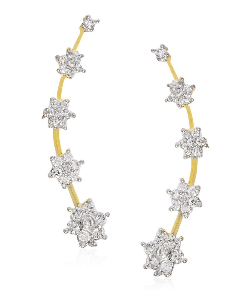Jewels Galaxy Imperial Star Design Ad Earcuff (2 Piece)
