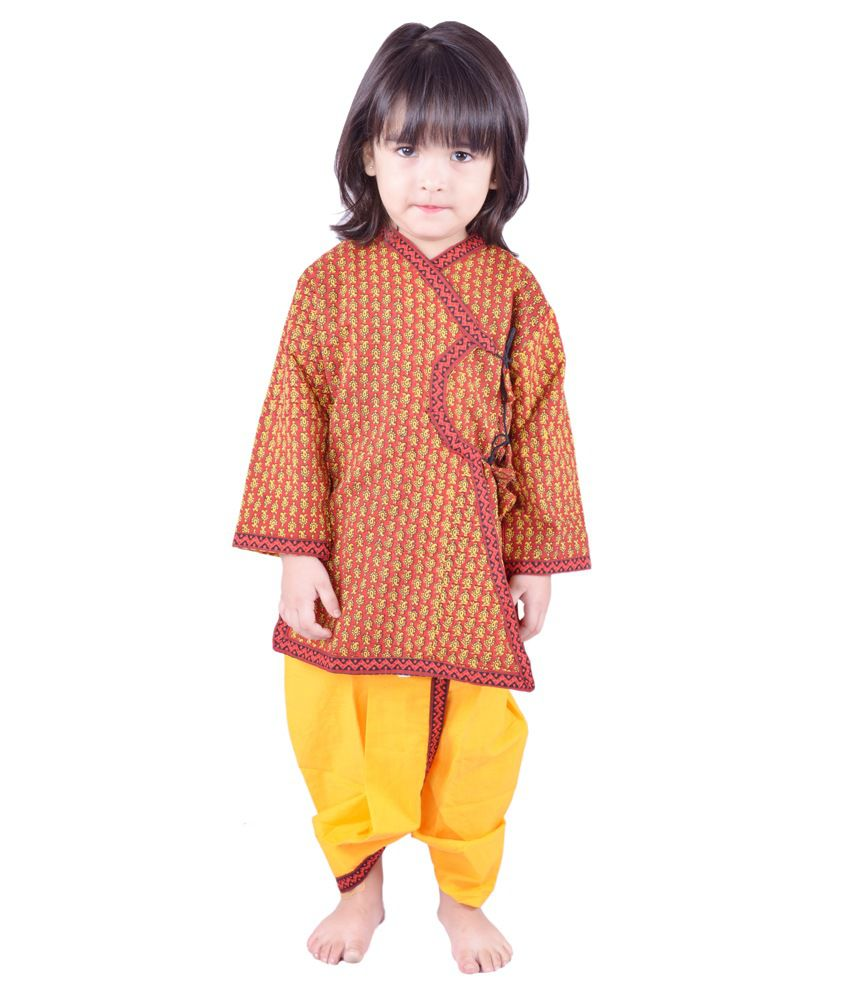 Rajasthani Traditional Dresses Orange Cotton Dhoti Kurta