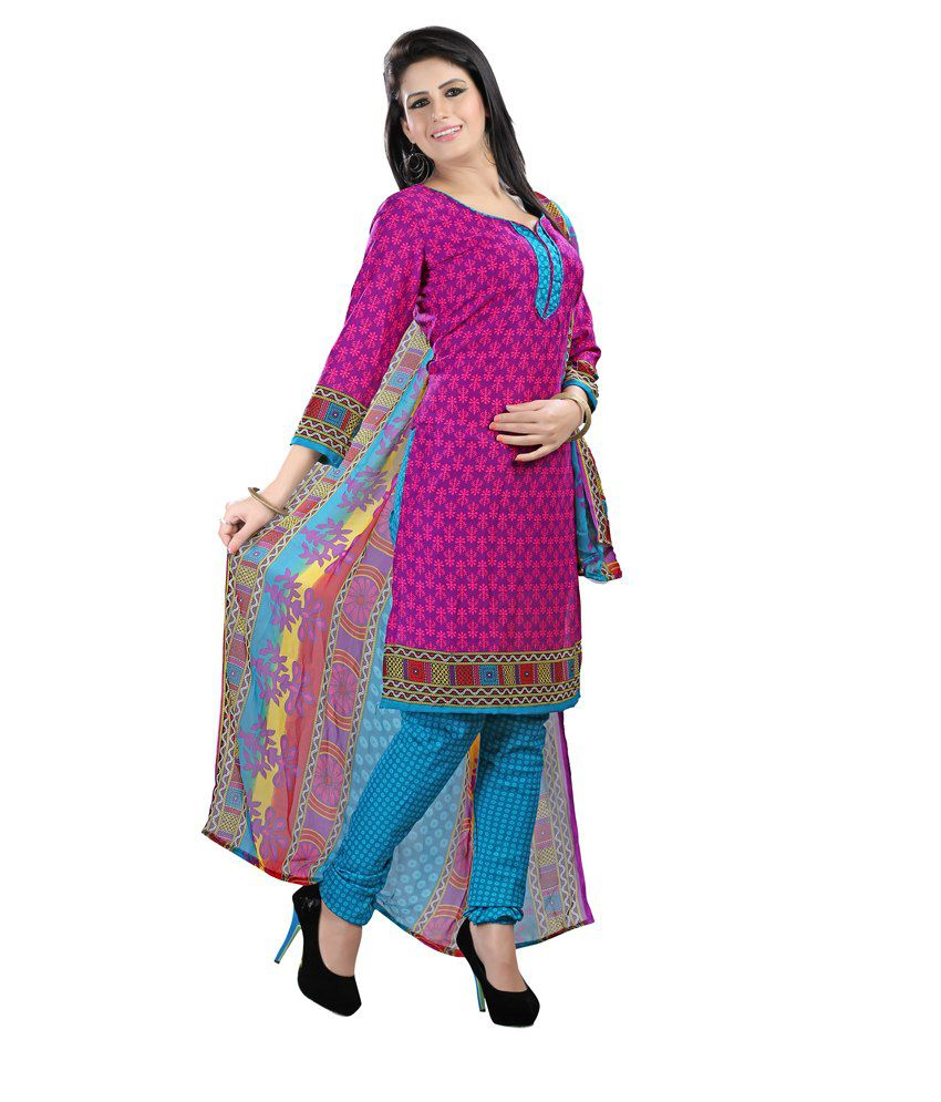 Rurda Fashion Printed Pink Leon Crepe Unstitched Dress Material(Extra Soft Fabric)