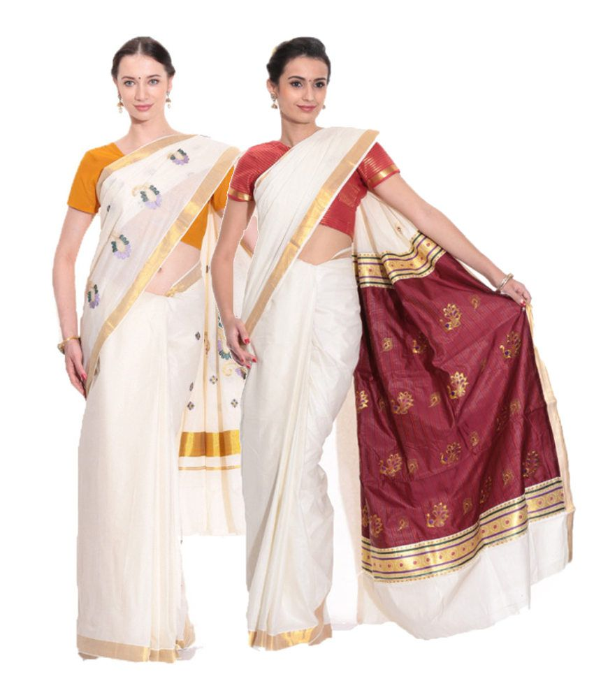 Fashion Kiosks Combo of Offwhite and Maroon Kerala Kasavu Cotton Sarees with Matching Blouse (Pack of 2)