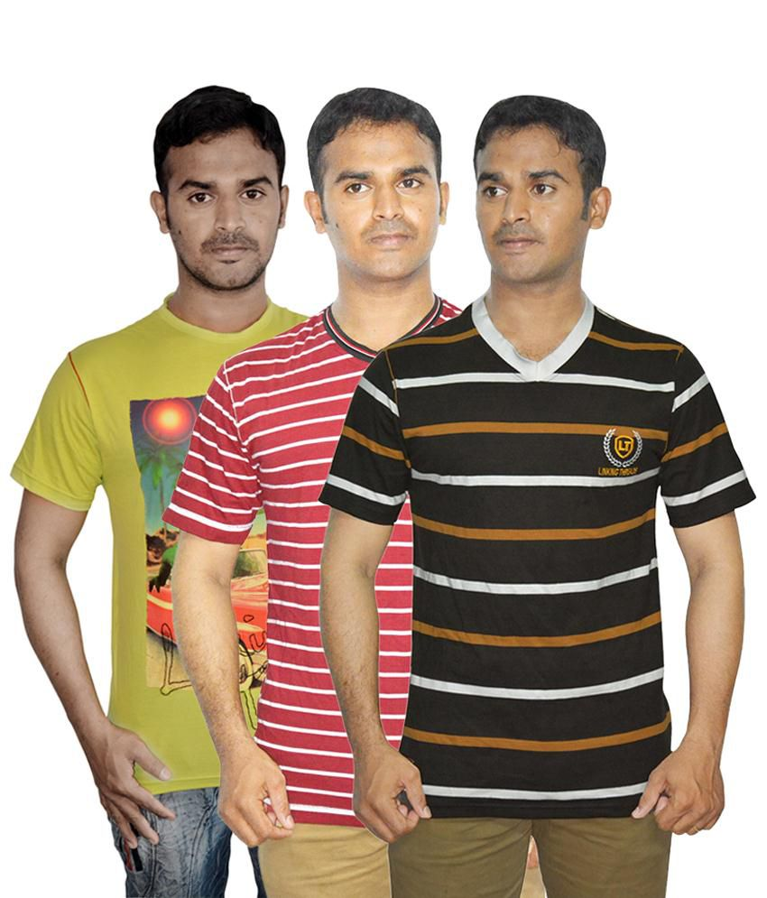 Linking Threads Fine Looking Green, Red & Brown Pack of 3 T Shirts for Men