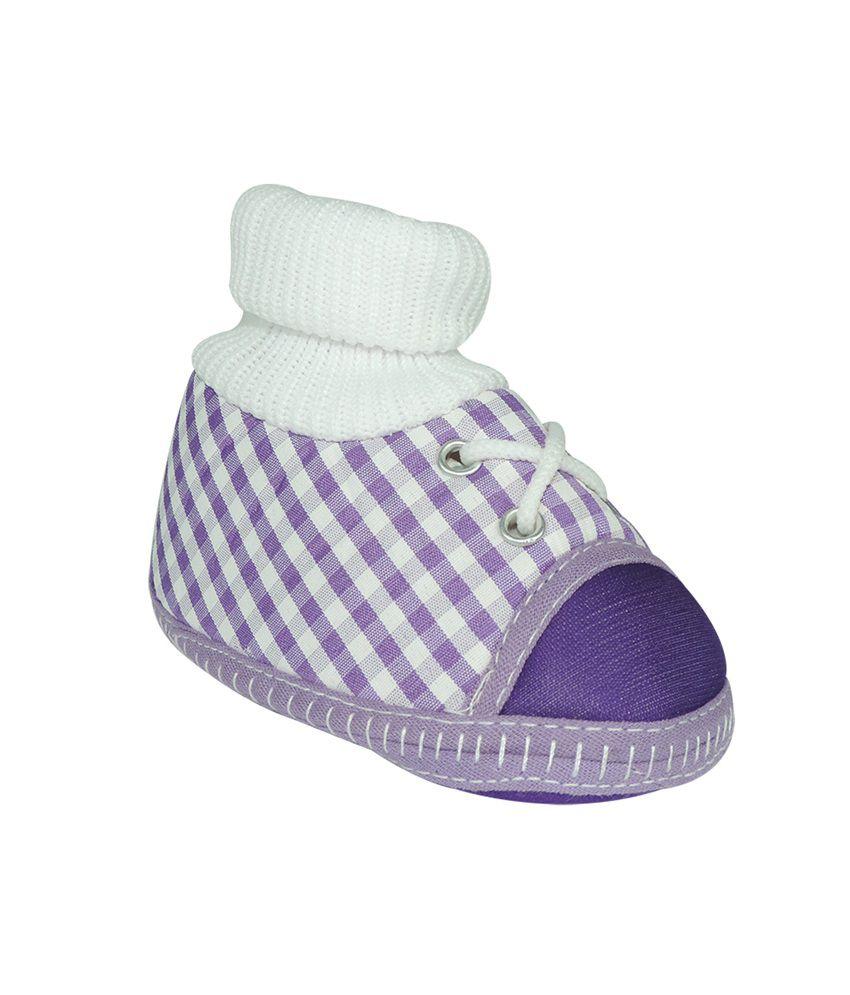 Ole Baby Purple Fabric Booties