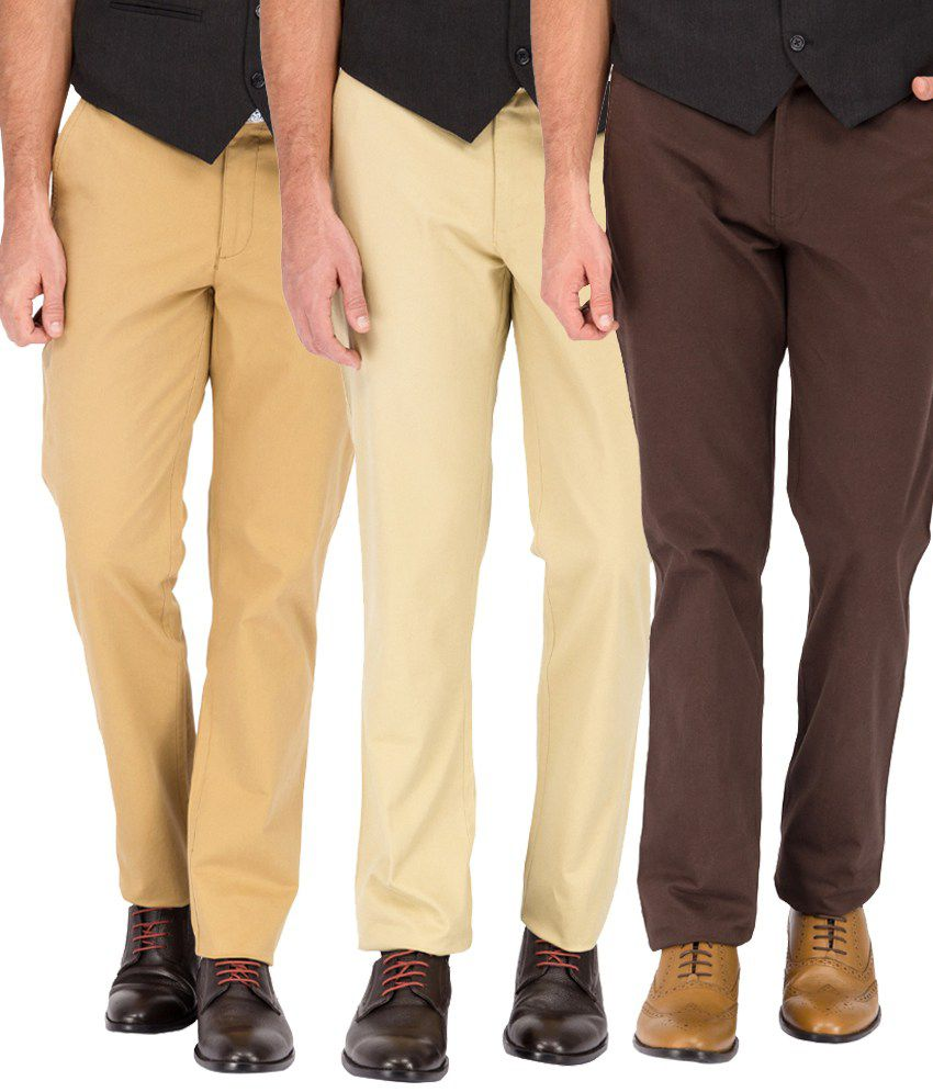Pierre Colsun Slim Fit Casual Chinos - Pack of 3