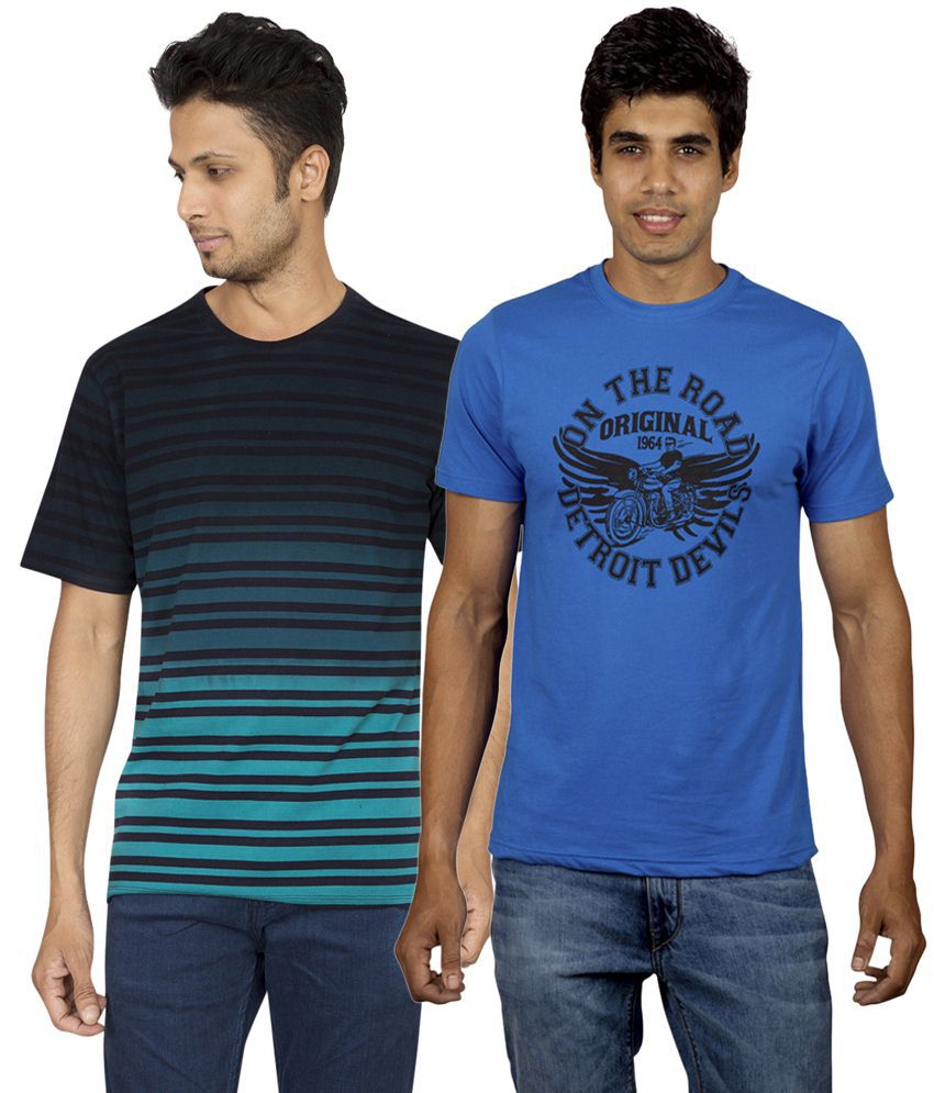 Red Line Alluring Pack of 2 Blue Round Neck T Shirts for Men
