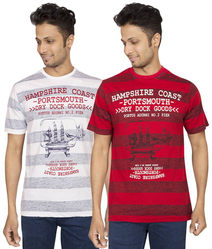 Red Line Pack of 2 Red & White T Shirts for Men