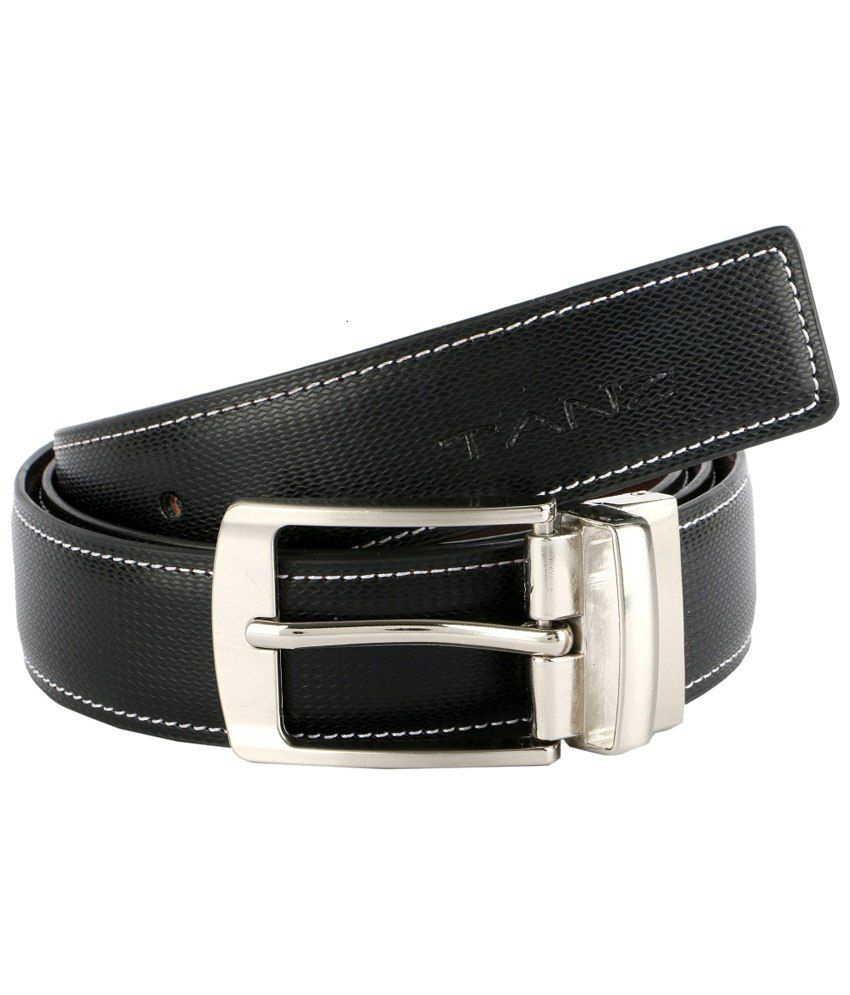 Tanz Black Reversible Leather Belt for Men