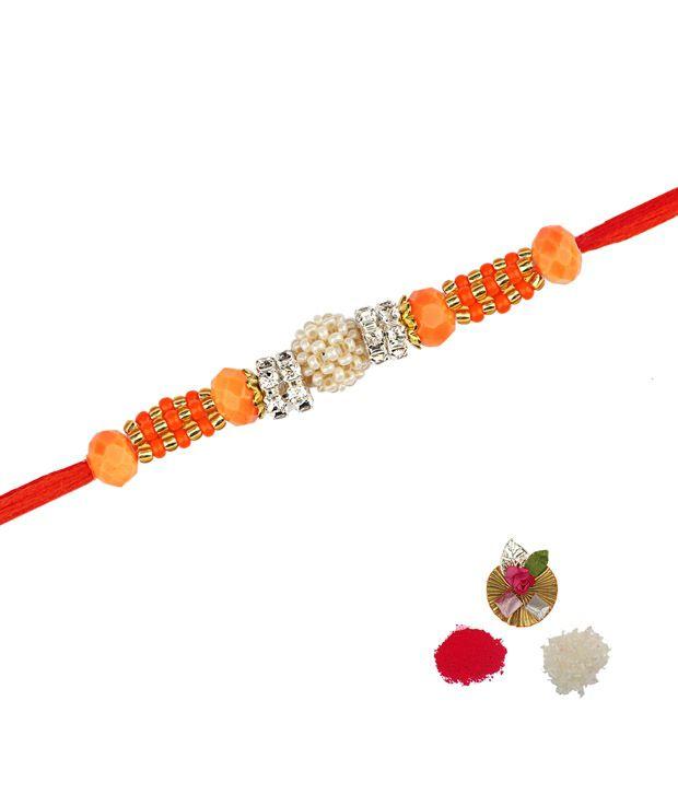 Asthetika Orange Rakhi With Moti Ball and Diamond Rings
