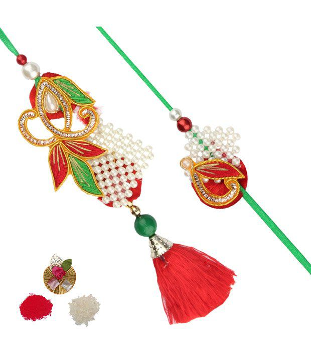 Asthetika Red and Green Moti Bhaiya Bhabhi Rakhi Pair