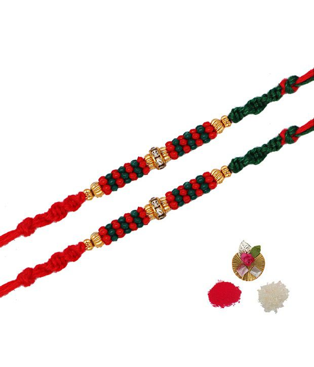 Asthetika Red and Green Traditional Rakhi With Golden Beads - Set Of 2
