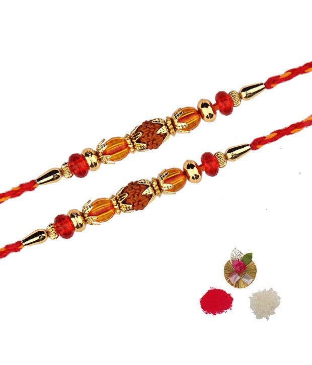 Asthetika Tradtional Rudraksh Rakhi With Red and Orange Beads - Set Of 2