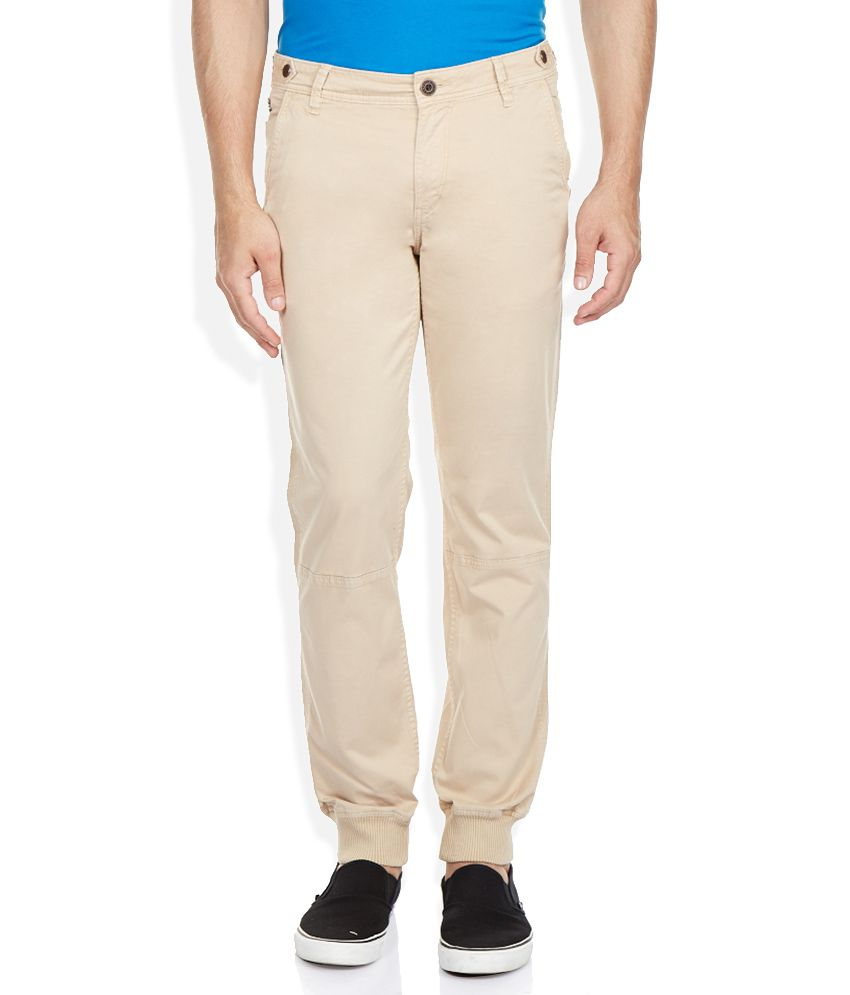 Route 66 Beige Solid Chinos