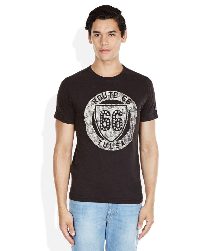 Route 66 Black Round Neck T-Shirt