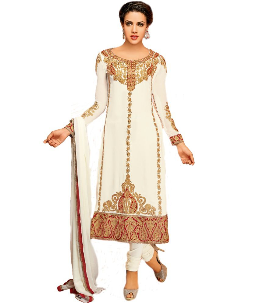 Mantra Mohini White Faux Georgette Unstitched Dress Material