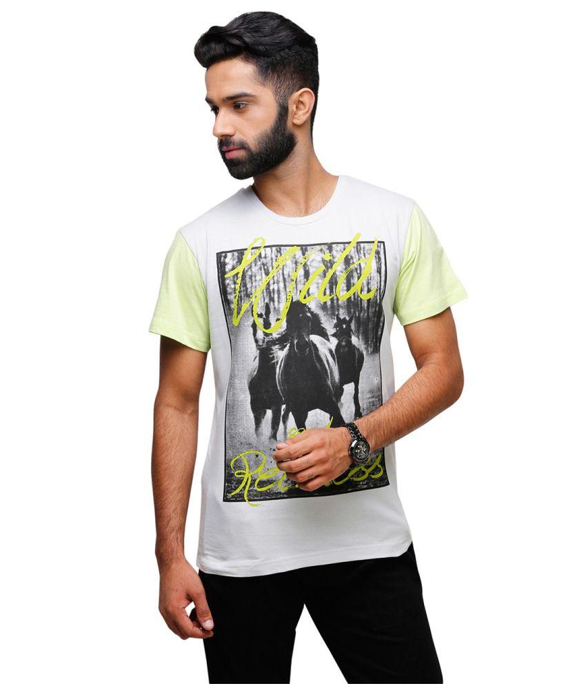 Yepme White and Gray Cotton T-shirt