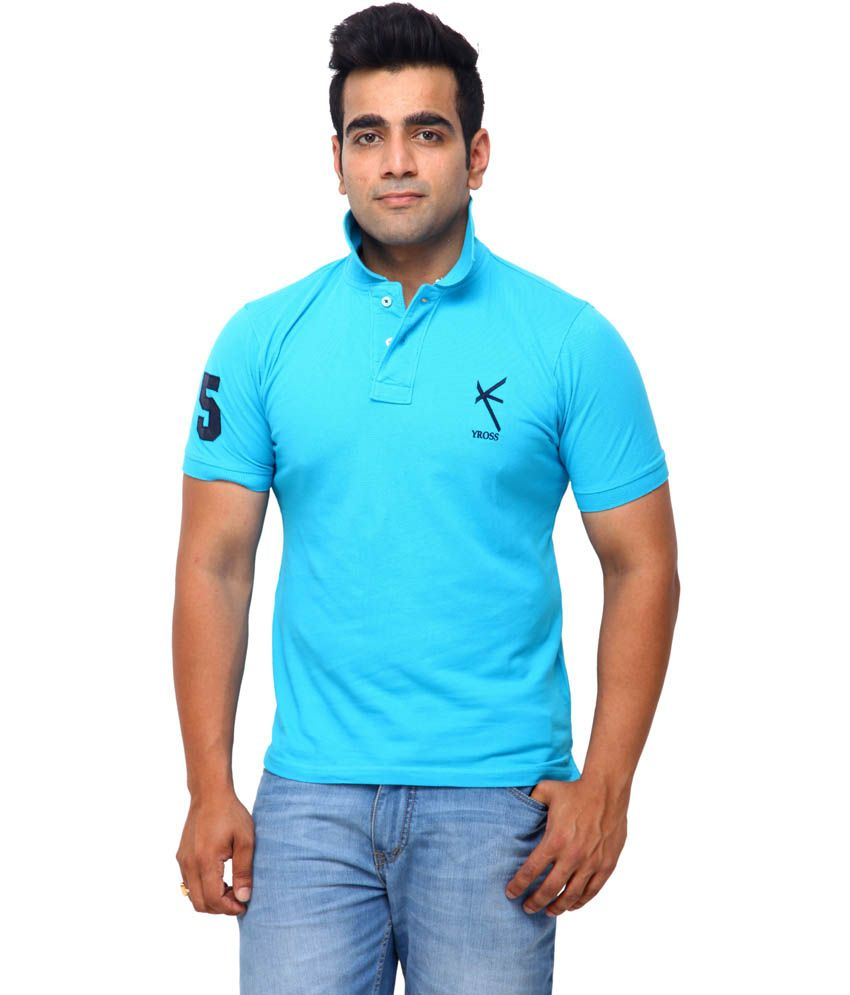 Yross Turquoise Cotton Polo T-Shirt