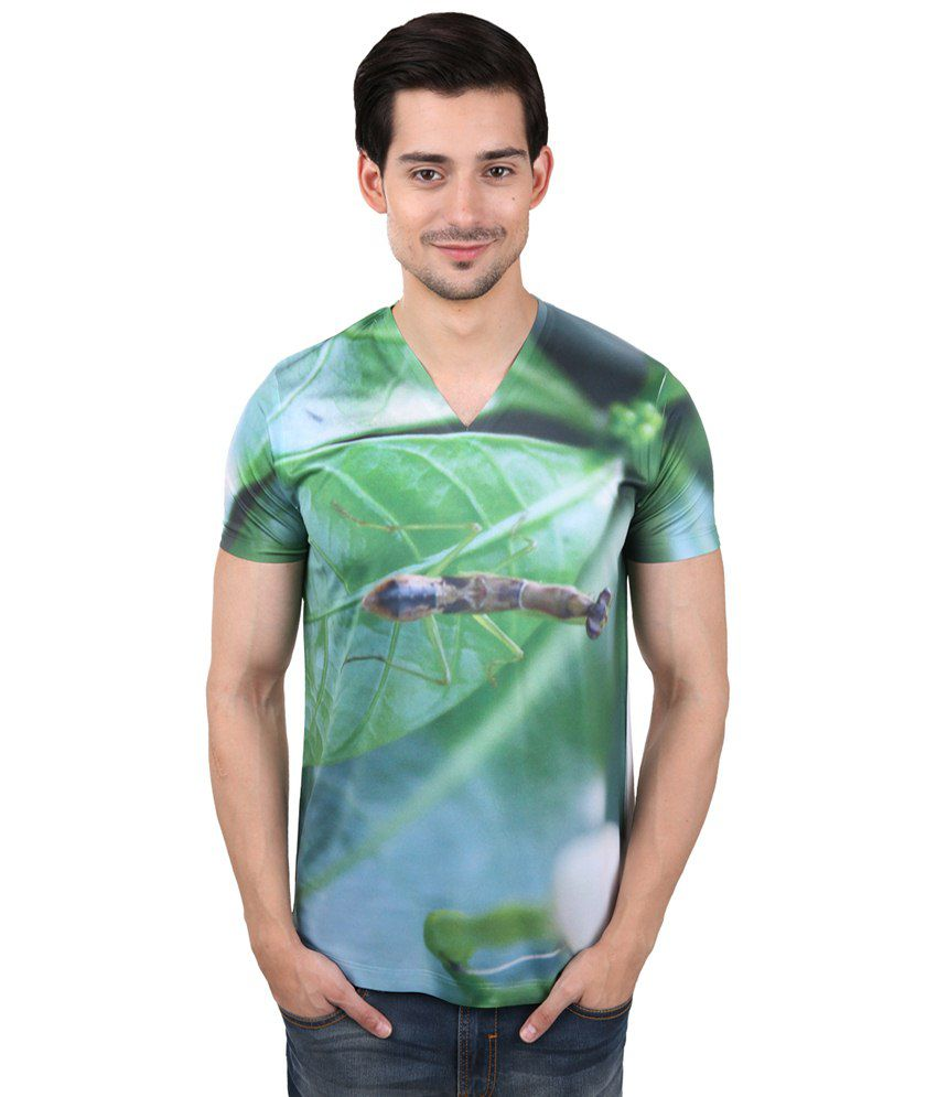 Freecultr Express Luxurious Green & White V Neck Half Sleeve T Shirt for Men