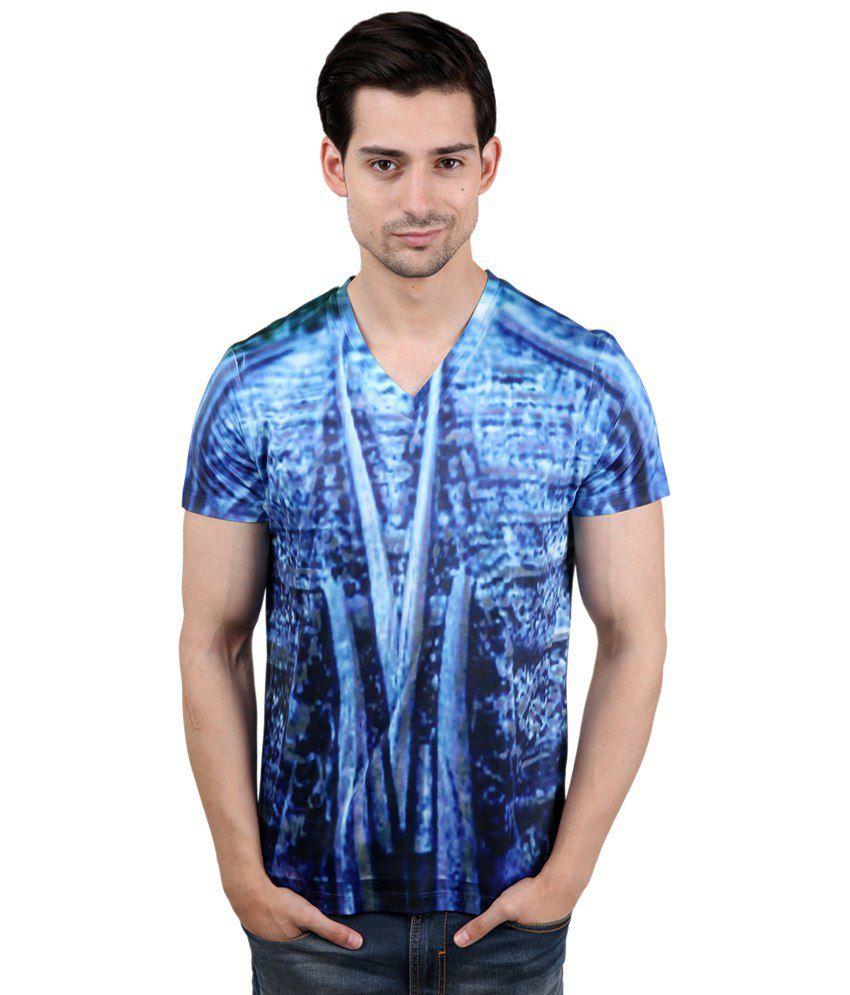Freecultr Express Nice Blue & White V Neck Half Sleeve T Shirt for Men