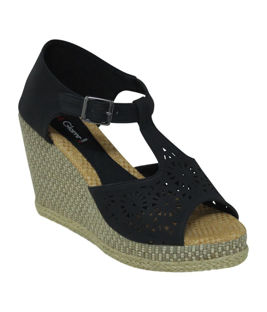 Get Glamr Black Faux Leather Wedges