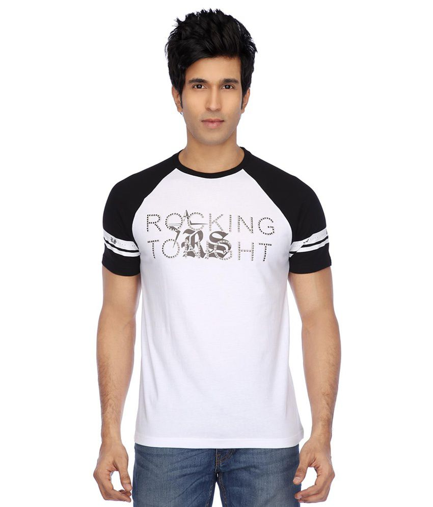 RS By Rock Star White Round Neck T-Shirt