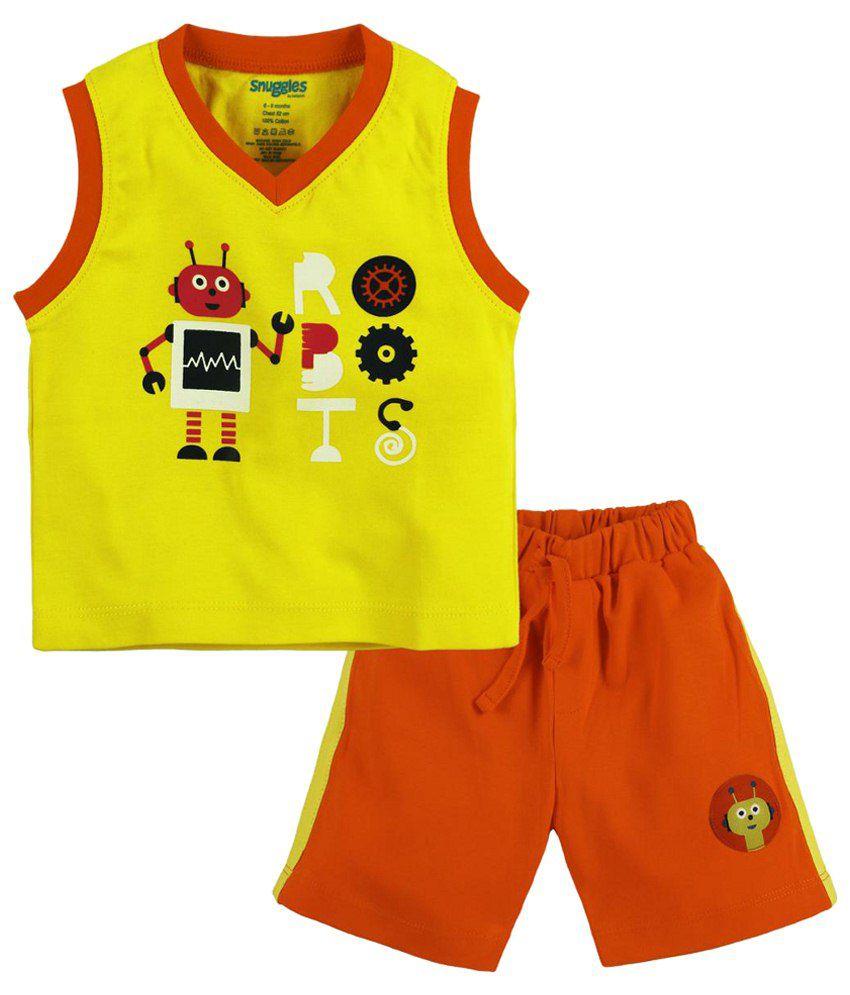 Snuggles orange yellow t shirt n shorts for kids buy for Yellow t shirt for kids