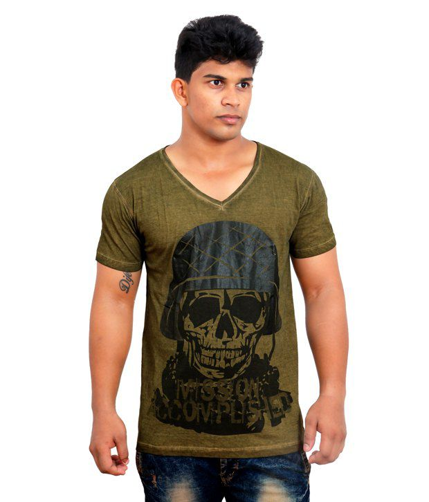 AM IN Macha Taupe Garment Dyed Printed V-Neck T-Shirt