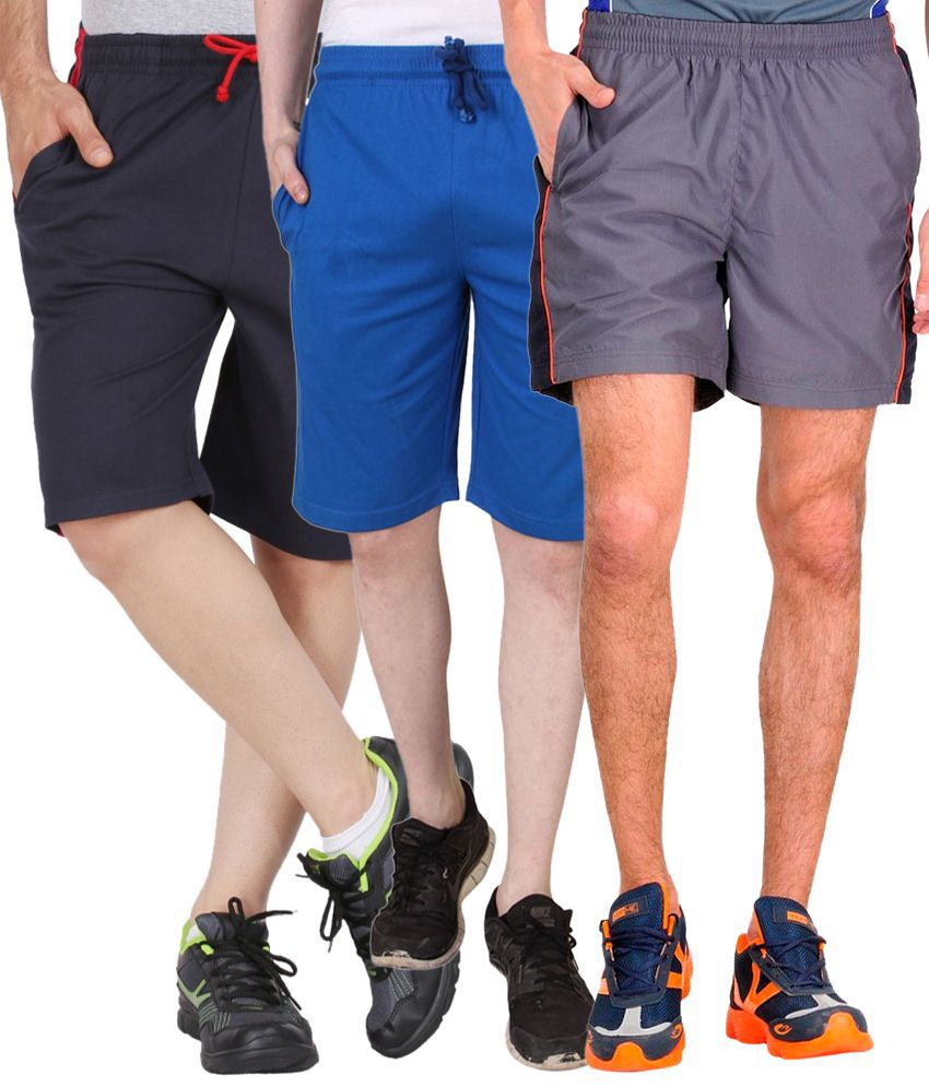 Jeevan Sports Wear Awesome Pack of 3 Blue & Gray Shorts for Men
