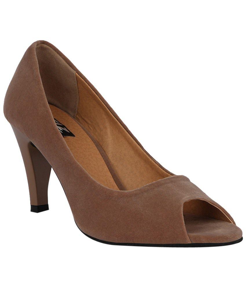 Kielz Smarty Brown Peep Toe Heels for Women