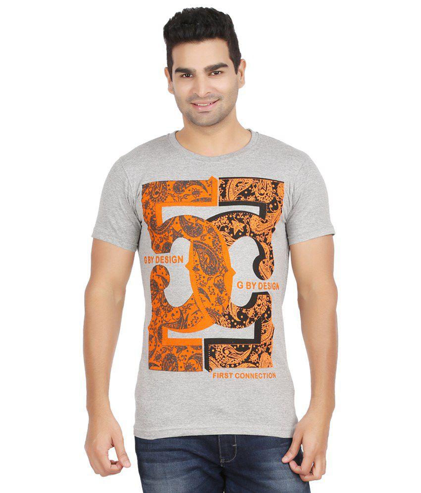 Elroe Gray & Orange Cotton T Shirt