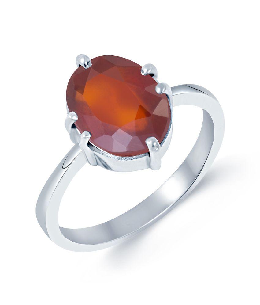 G-Luck Garnet (Gomed) 92.5 Silver Gemstone Ring
