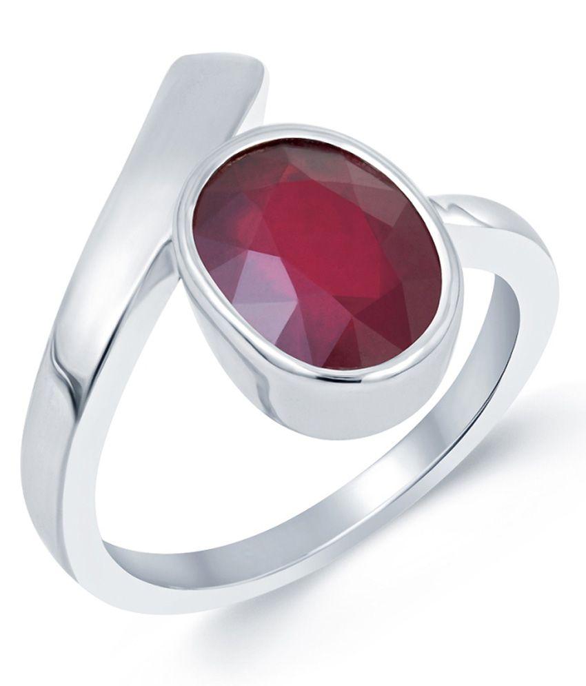 G-Luck Ruby (Manik) 92.5 Silver Gemstone Ring