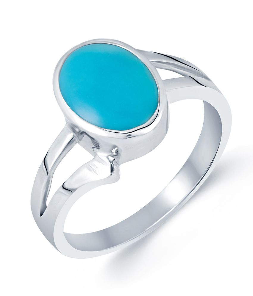 G-Luck Turquoise (Firoza) 92.5 Silver Gemstone Ring