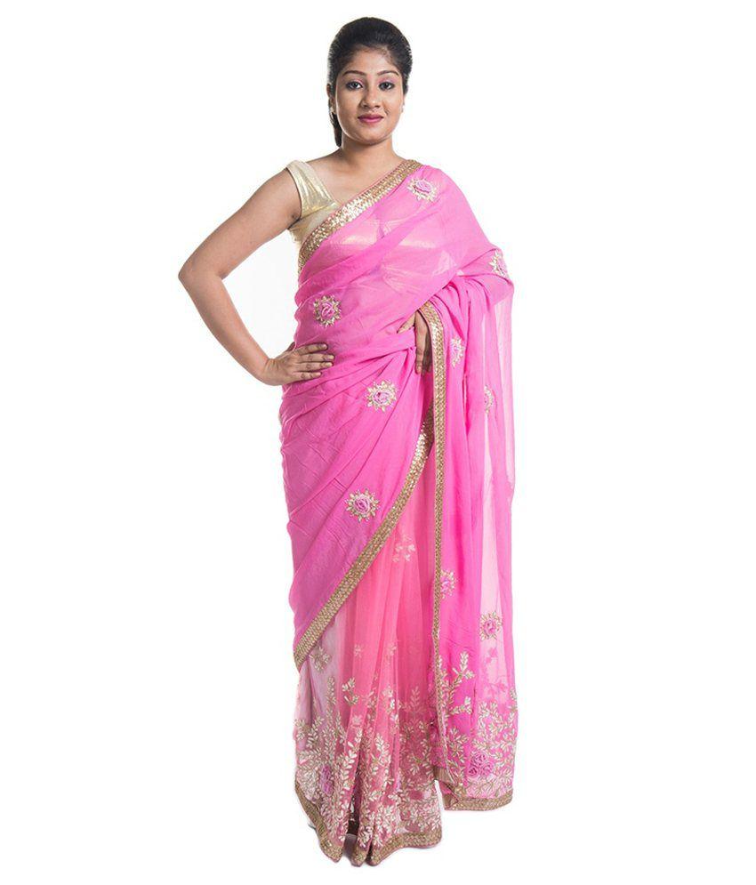 Shyamlal Bajaj Pink Viscose Saree