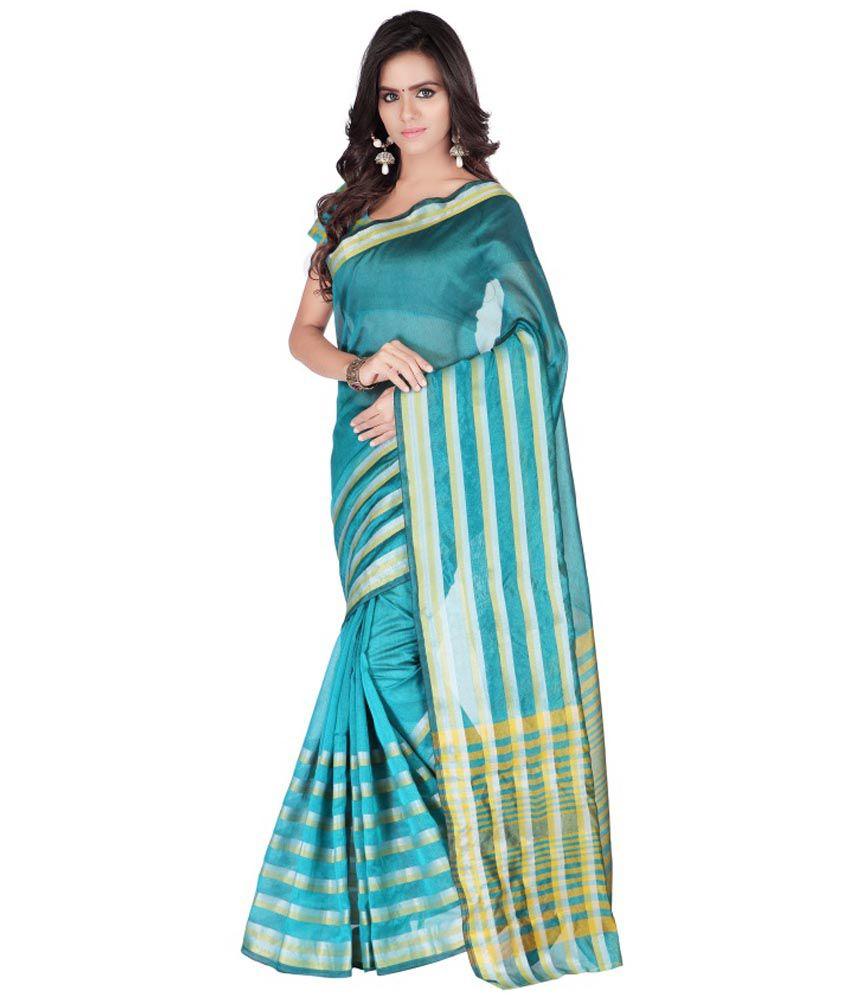 Weavedeal Turquoise Maheshwari Saree