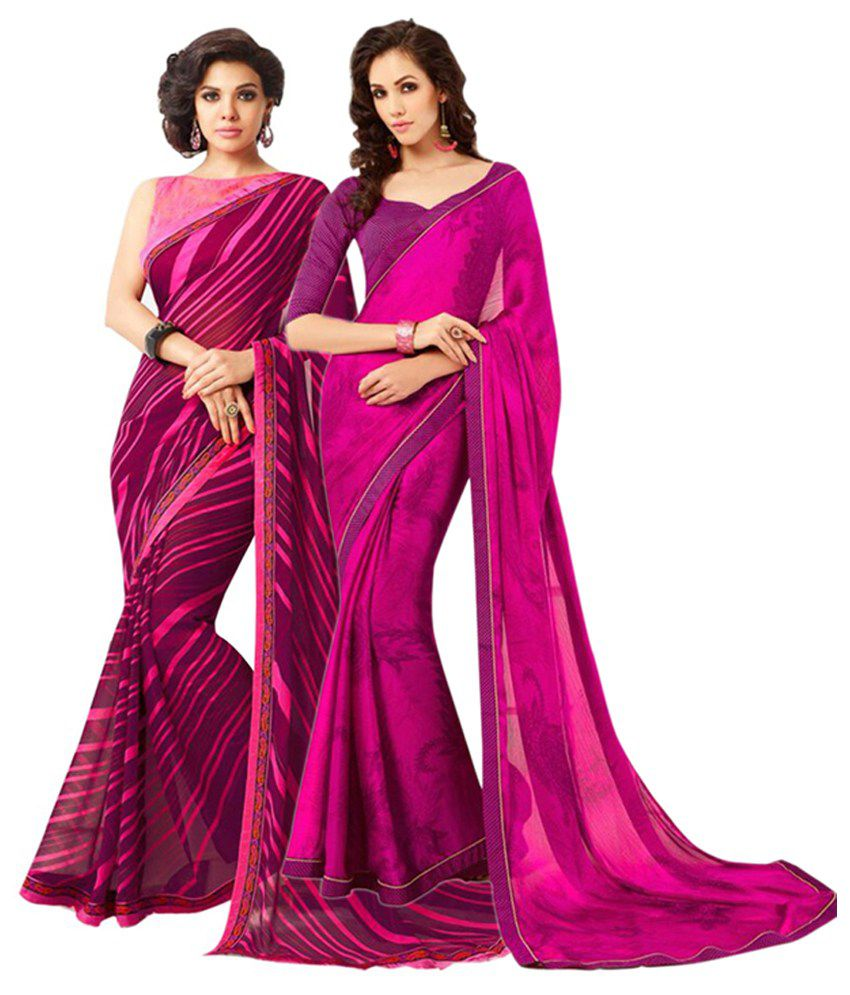 Akshaya Fashions Multicolour Pure Georgette Pack of 2