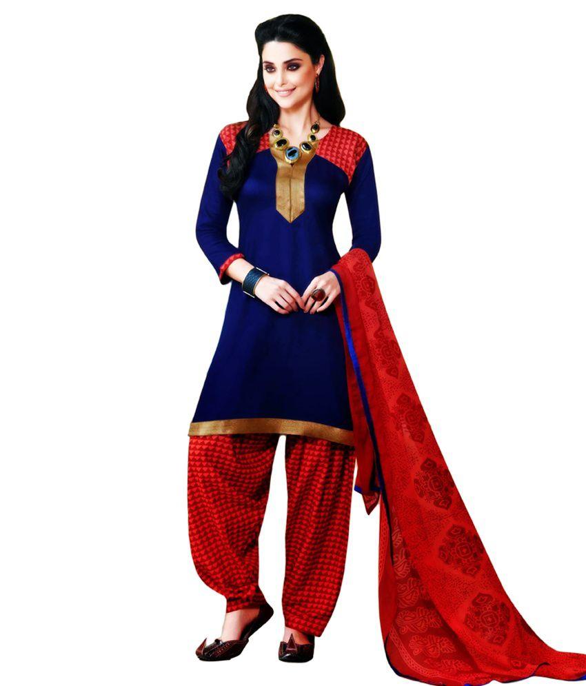 Bhrati Sarees Blue Cotton Unstitched Dress Material