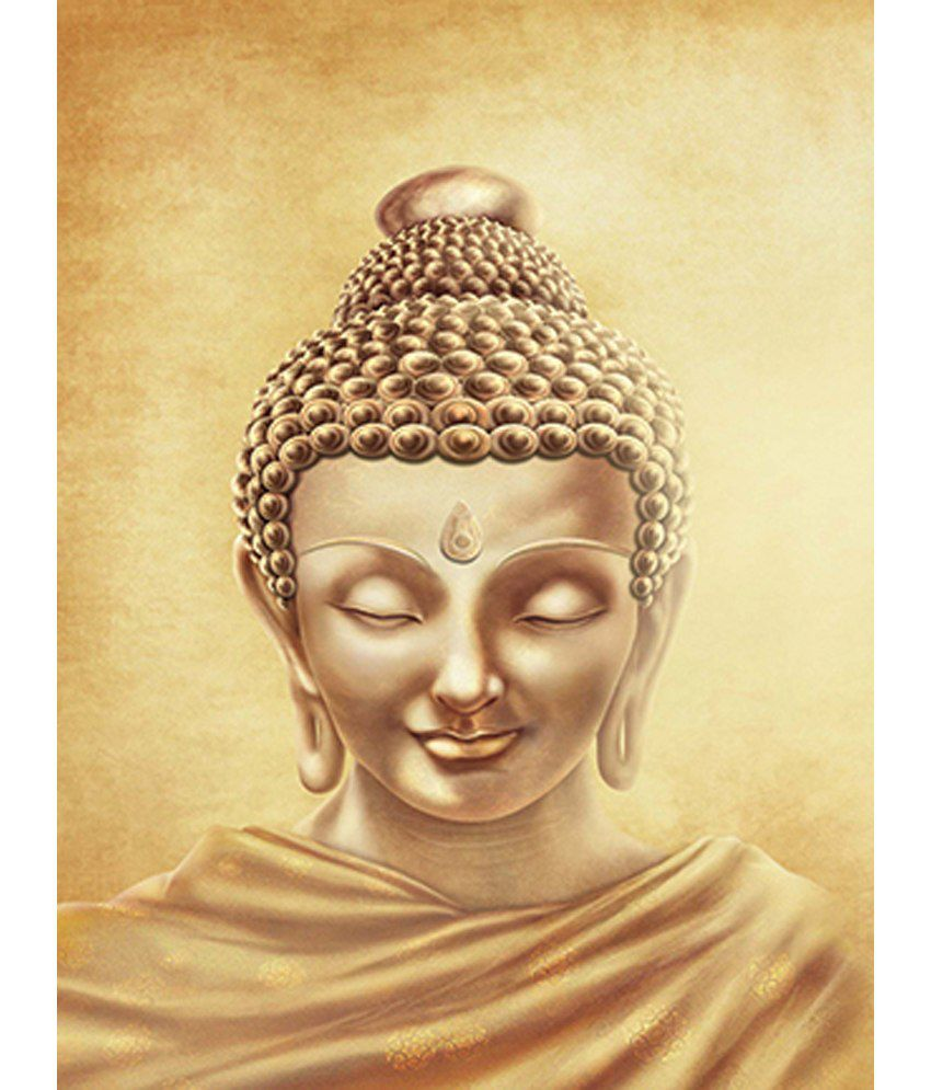 Retcomm Art Painting Meditating Buddha Yellow Pencil Sketch