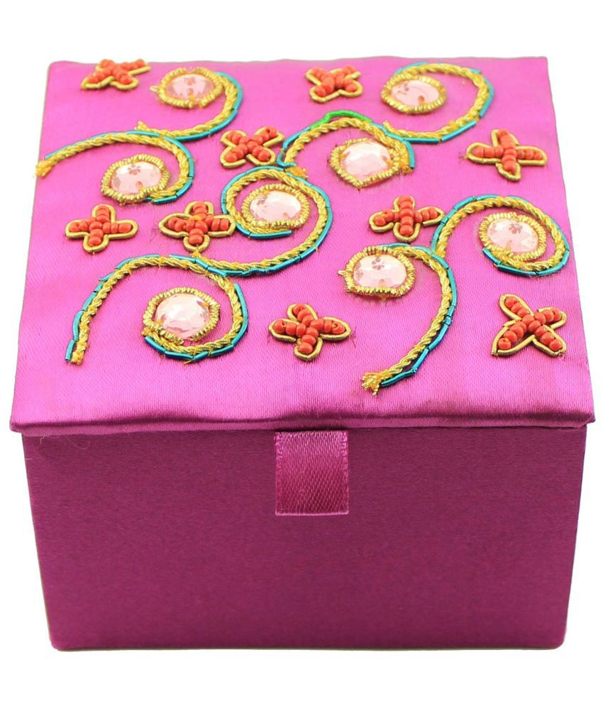 Zari Boxes Rectangle Pink Satin Fabric Stores And Box