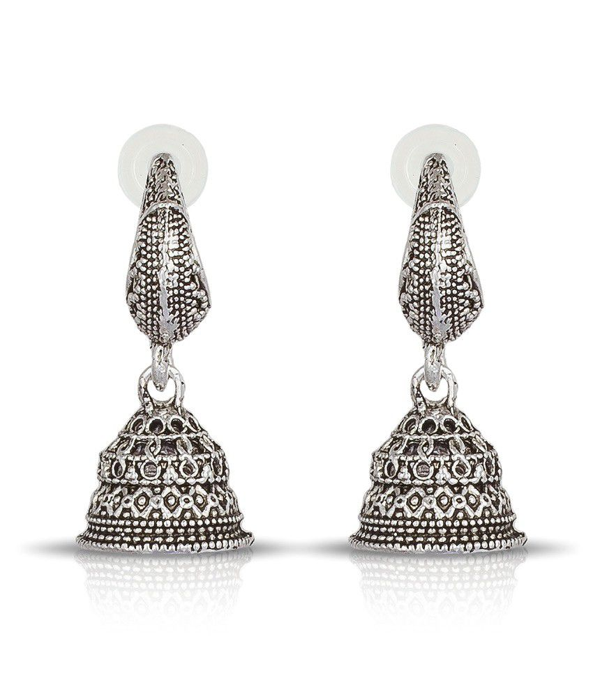 Luxor Silver Alloy Jhumki Earrings