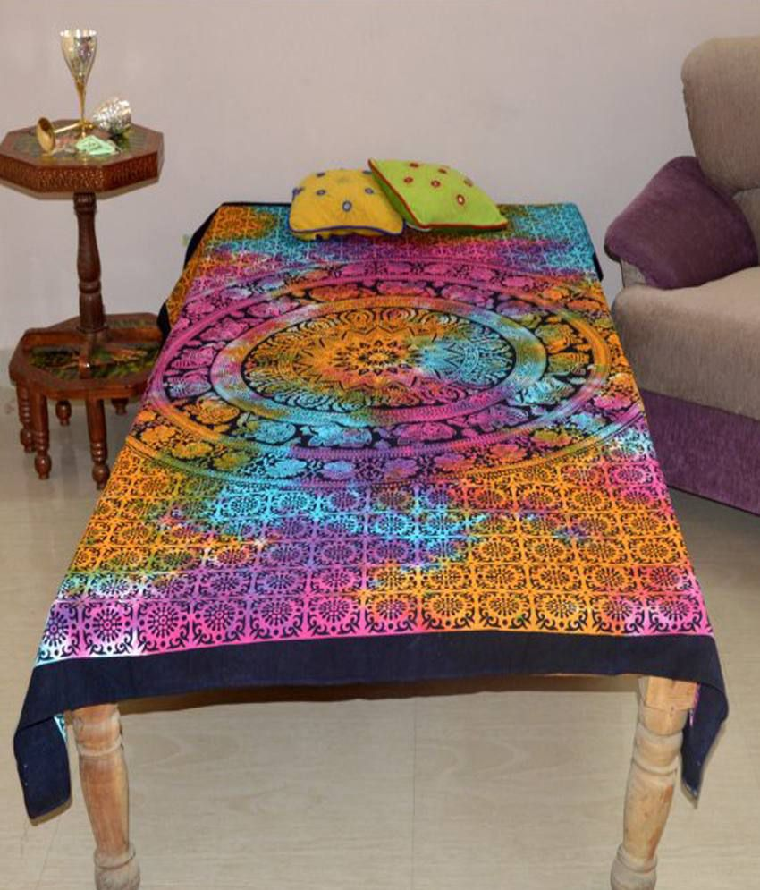 Marusthali Multi-Colour Cotton Printed Single Bedsheet