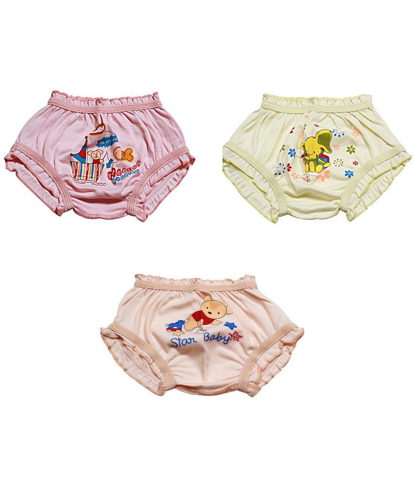 OOH Pack of 3 Multi Colors Printed Bloomers For Kids