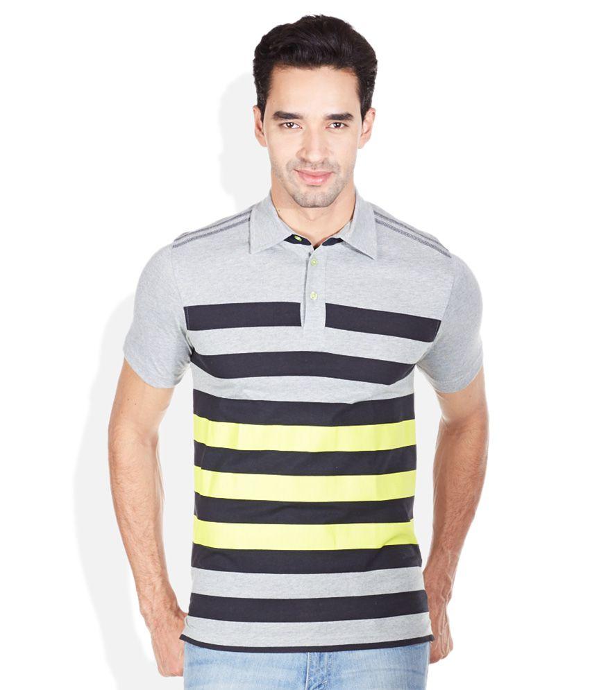 Reebok Gray Stripers Polo T-Shirts