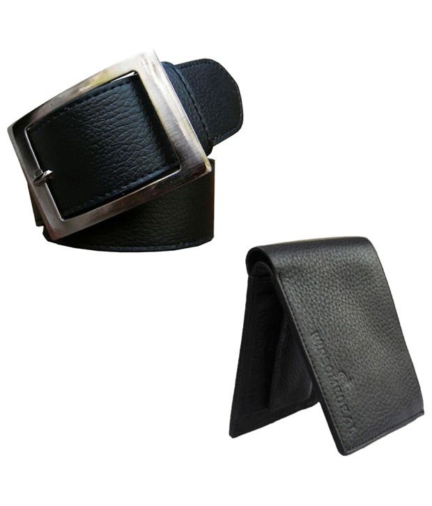 Winsome Deal Combo of Black Wallet & Belt for Men