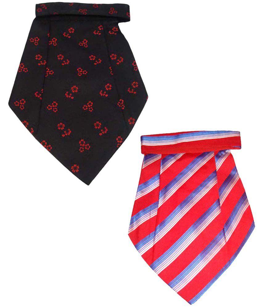 Leonardi Artistic Pack of 2 Red & Black Cravats for Men