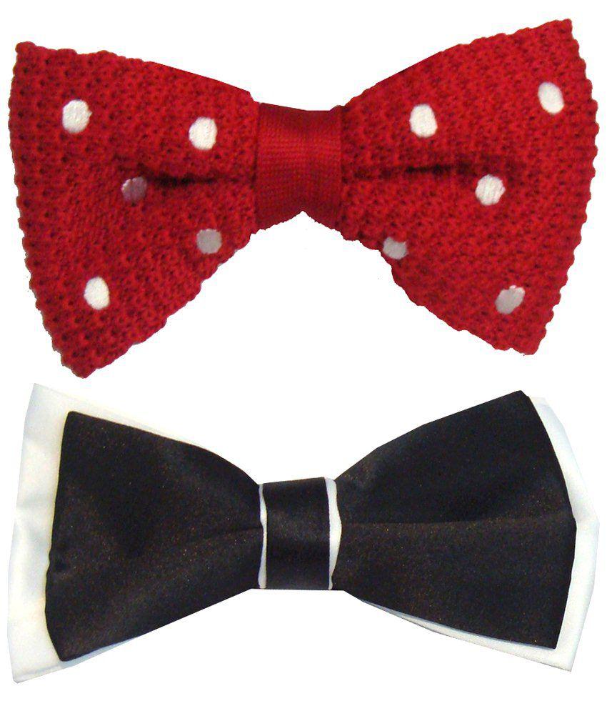 Leonardi Beautiful Pack of 2 Red & Black Casual Bow Ties for Men