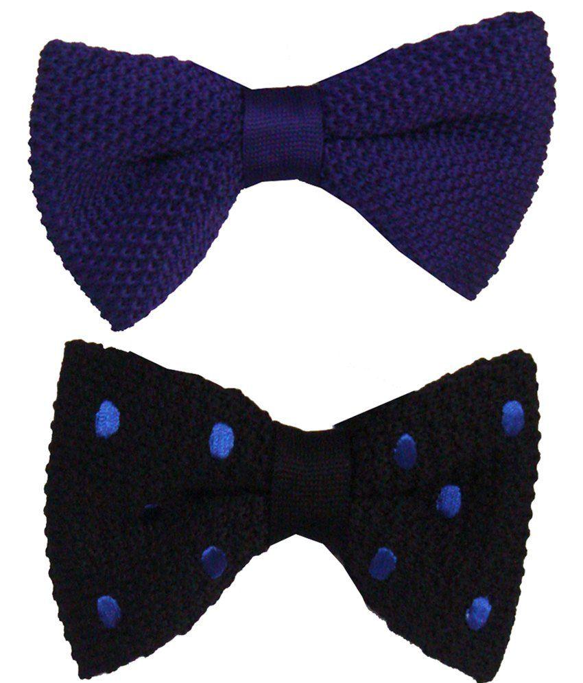 Leonardi Captivating Pack of 2 Purple & Black Plain Casual Bow Ties for Men