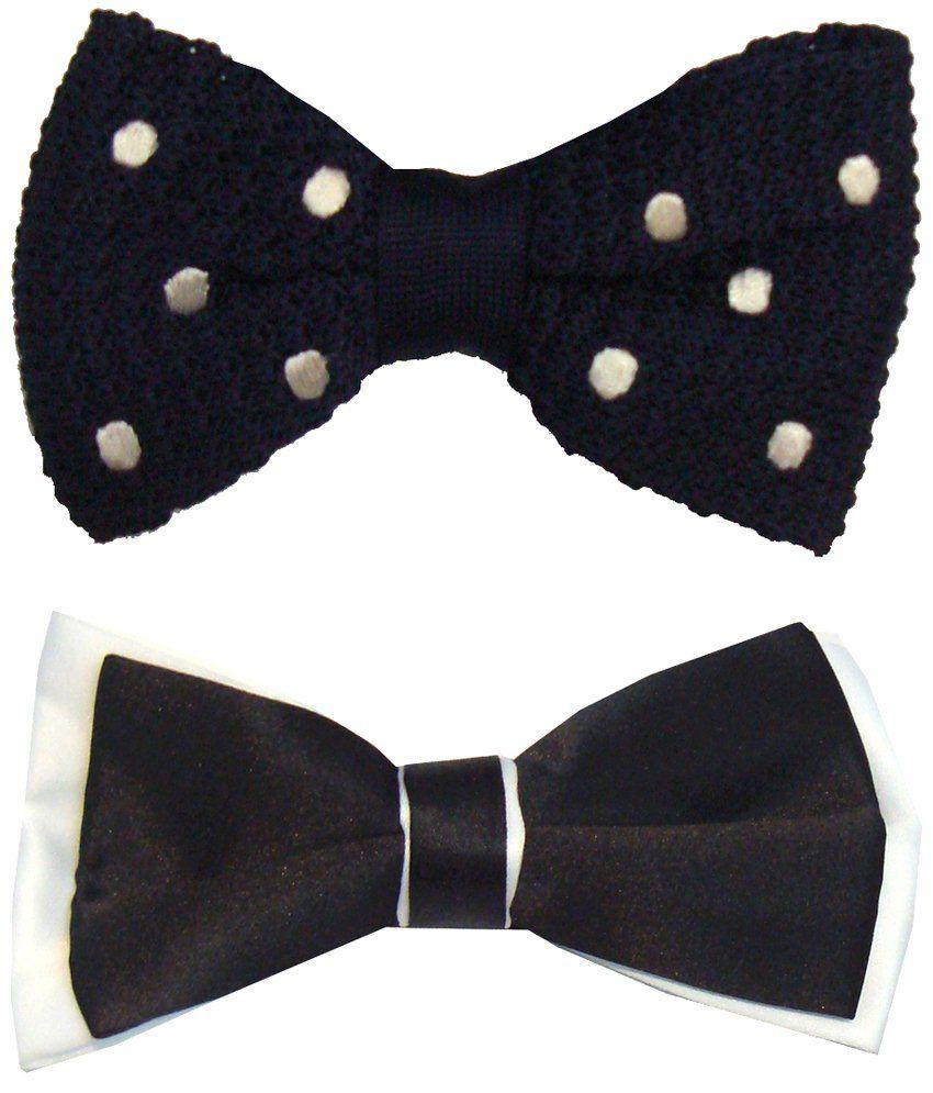 Leonardi Chic Pack of 2 Black & Navy Blue Formal Bow Ties for Men